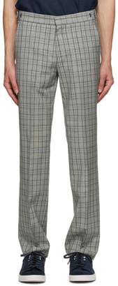 HUGO BOSS Grey Wool Plaid Trousers