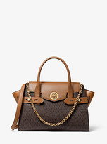 Michael Kors Carmen Large Logo and Leather Belted Satchel