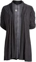 Glam Black & White Dot Open Cardigan - Plus