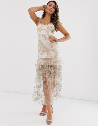 Love Triangle satin maxi dress with tiered tulle hem in pink and gold glitter-Multi