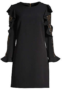 Laundry by Shelli Segal Women's Ruffled Crepe& Metallic Mesh Long-Sleeve Dress