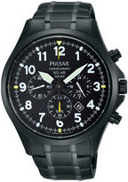 Pulsar Business Mens Black Stainless Steel Solar Chronograph Sport Watch PX5039