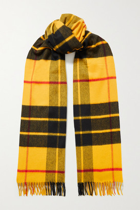 Johnstons of Elgin + Net Sustain Fringed Checked Merino Wool Scarf - Yellow