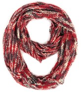 Paula Bianco Mixed Knit Infinity Scarf in Bordeaux Multi