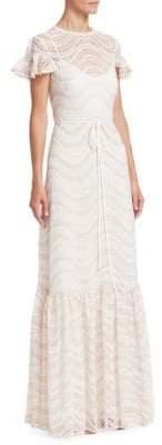 ML Monique Lhuillier Women's Cap-Sleeve Ruffled Lace Gown - Blush Multi - Size 4