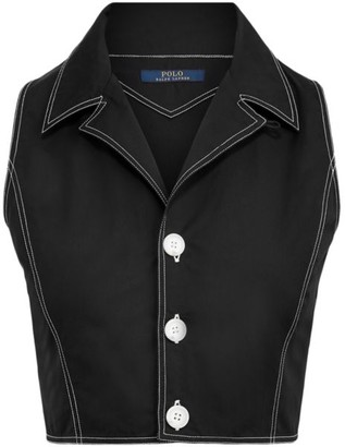 Polo Ralph Lauren Sleeveless Denim Slim-Fit Crop Top