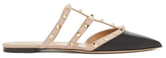 Valentino Rockstud Point-toe Leather Flat Mules - Black Nude