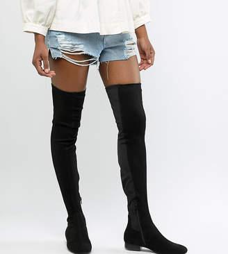 Asos Tall DESIGN Tall Kelby flat elastic thigh high boots-Black