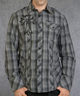 Rebel Spirit Gray Plaid 'Royal' Cross Embroidery Button-Up - Men's Regular
