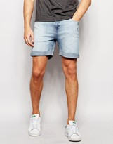 Weekday Beach Slim Denim Shorts in Blue Beat Light Wash
