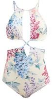 Ephemera - Bloom Printed Cut-out Swimsuit - Womens - Blue Print