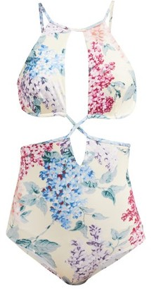 Ephemera - Bloom Printed Cut-out Swimsuit - Womens - Blue Print