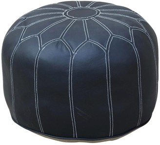 Phil Bee Interiors Moroccan Black Leather Ottoman