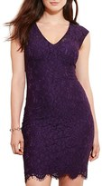 Lauren Ralph Lauren Plus Size Women's V-Neck Floral Lace Sheath Dress
