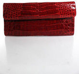 LAI Red Crocodile Skin Clutch Handbag Size Small