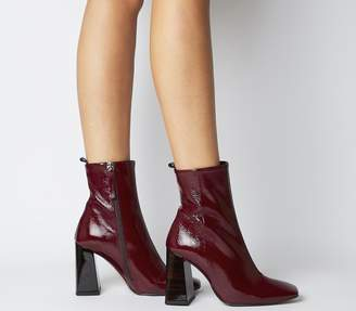 Office All Together Square Toe Block Heels Burgundy Patent Leather