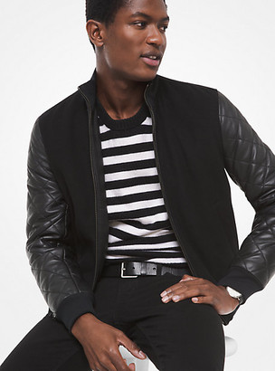 Michael Kors Leather and Wool Blend Bomber Jacket