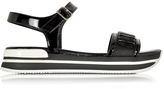 Hogan Black Fabric and Patent Leather Sandal
