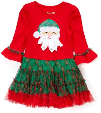 Nannette Kids Girls' Special Occasion Dresses RED - Red & Green Santa Ruffle-Skirt A-Line Dress - Toddler