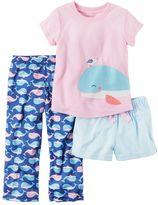 Carter's Toddler Girl Graphic Tee, Striped Shorts & Print Pants Pajama Set