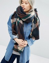 Asos Oversized Square Scarf in Brown Check Blown up