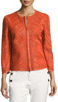 Escada Leaf-Cut Leather 3/4-Sleeve Jacket, Orange