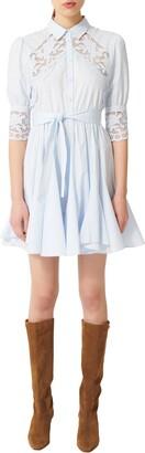 Maje Lace Inset Mini Shirtdress