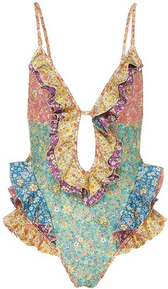 Zimmermann 'Carnaby' colourblock floral print ruffle swimsuit
