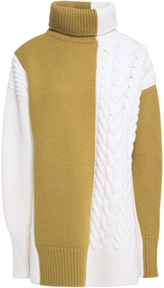Joseph Paneled Cable-knit Merino Wool Turtleneck Sweater