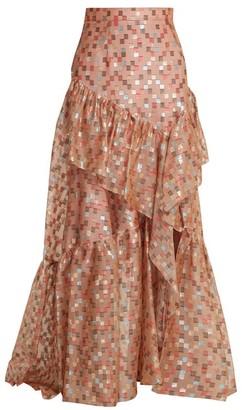 Peter Pilotto Fil Coupe Jacquard Silk-blend Organza Skirt - Nude Print