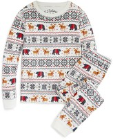 PJ Salvage Girls' Holiday Reindeer Brushed Thermal Pajama Set - Little KidT