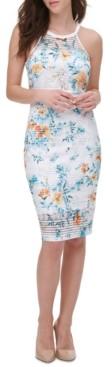 GUESS Floral-Print Lace Bodycon Dress