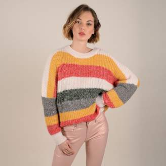 Molly Bracken Chunky Knit Rainbow Striped Jumper with Drop Shoulders