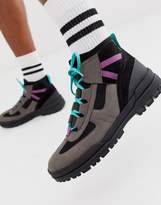 Asos Design ASOS DESIGN hiker lace up boots in grey multi