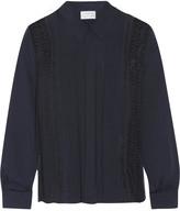 Tanya Taylor Estelle lace-paneled silk crepe de chine shirt