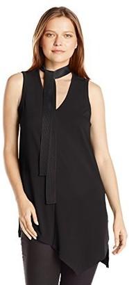 Rafaella Women's Misses Solid Knit Crepe Tie Front Sleeveless Top