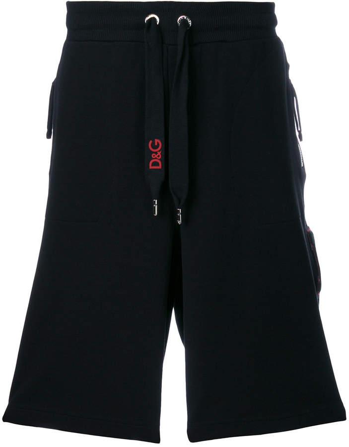 Dolce & Gabbana piped logo track shorts