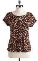 Rafaella PETITES Petite Ikat Printed Shirt