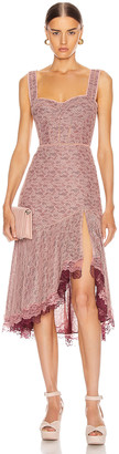 Jonathan Simkhai Lace Open Slit Bustier Dress in Sienna & Antique Rose | FWRD