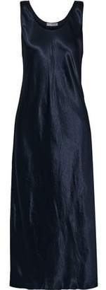 Vince Crinkled Satin-twill Midi Slip Dress