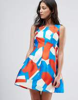 Traffic People Geo Print Skater Dress