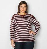 Avenue Lace Trim Stripe Sweatshirt