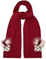 Fendi Monster Eyes fur-trimmed wool scarf