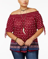 Almost Famous Trendy Plus Size Printed Off-The-Shoulder Top