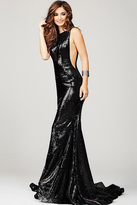 Jovani Low Back Long Sequined Prom Dress 33040