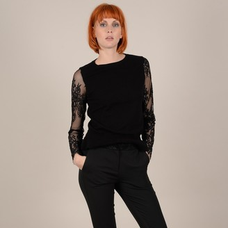 Molly Bracken Fine Knit Jumper with Embroidered Voile Sleeves