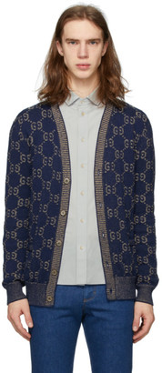 Gucci Navy Knit GG Cotton Cardigan