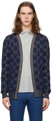 Gucci Navy Knit GG Cotton Cardigan