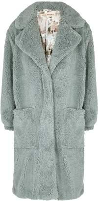 Free People Tessa Dusty Blue Faux Shearling Coat