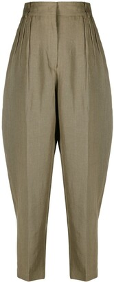 Erika Cavallini High-Waisted Linen Cropped Trousers